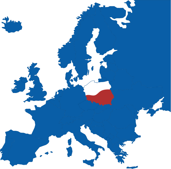 Mapa Polski na tle Unii Europejskiej